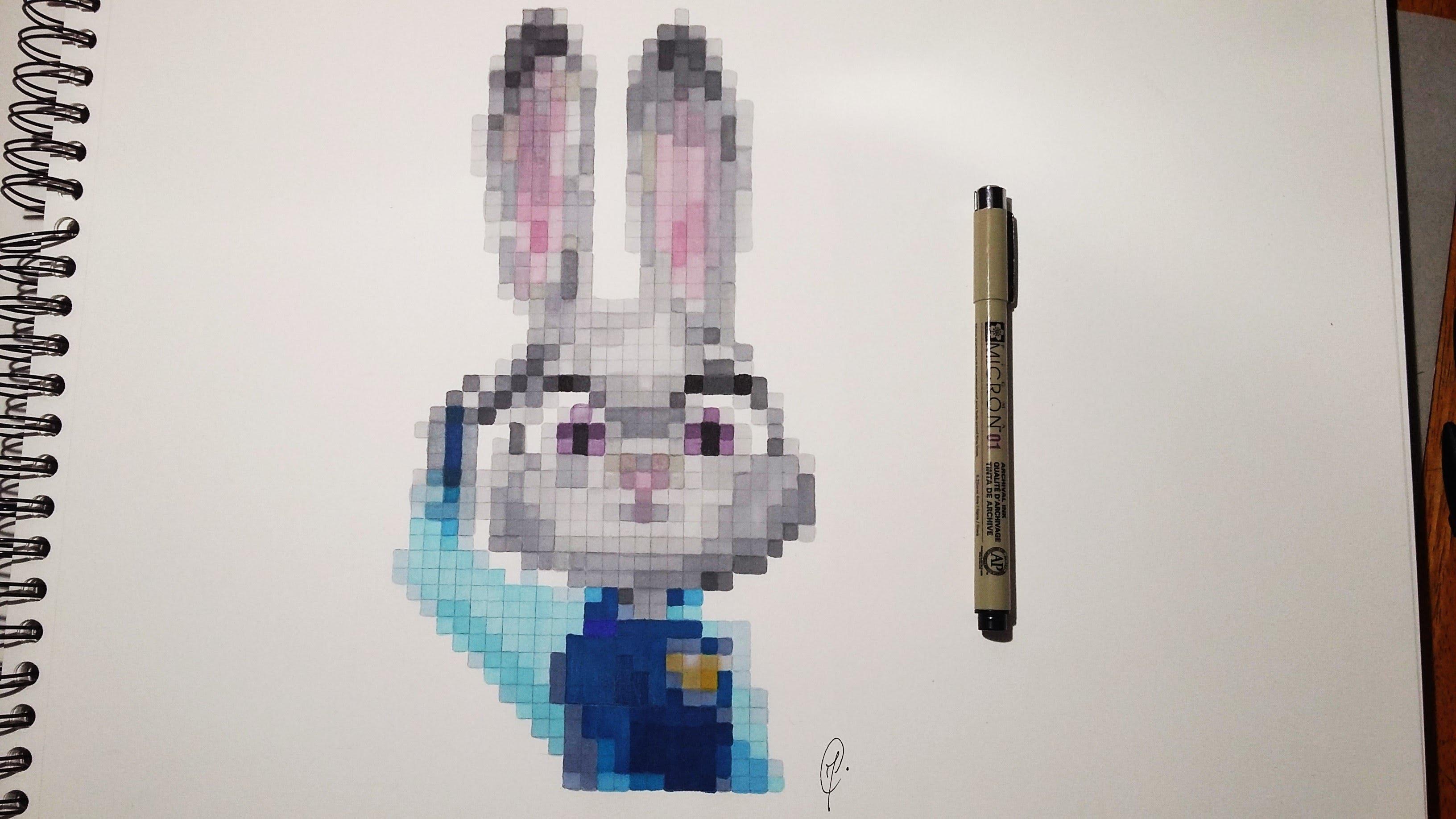 Drawn pixel art realistic Judy Realistic Pixel (Zootopia) YouTube