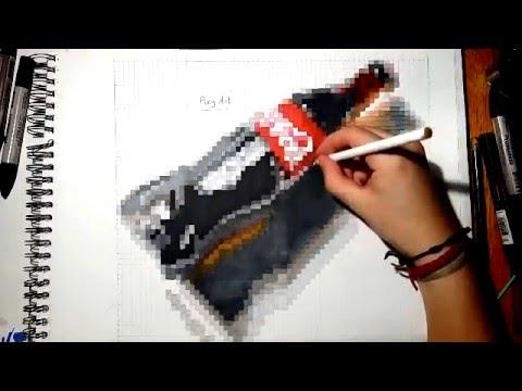 Drawn pixel art realistic Coca Realistic Drawing) Pixel Bottle