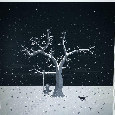 Drawn pixel art realistic Photos #theseason winter #pixelart scene