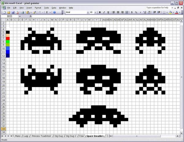 Drawn pixel art retro Geeky Hongkiat Excel invaders Created