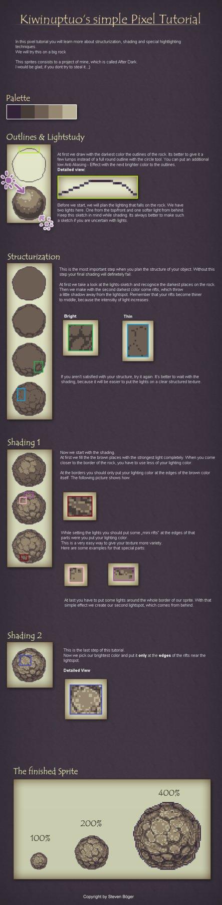 Drawn pixel art rock Tutorial by Art deviantART tutorial