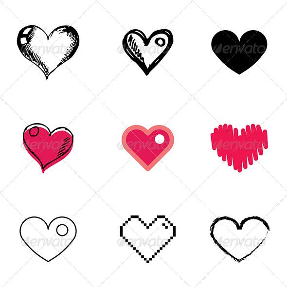 Drawn pixel art romantic Set Heart Heart Icons Symbol