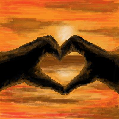 Drawn pixel art romantic Heart pixel hands contest art