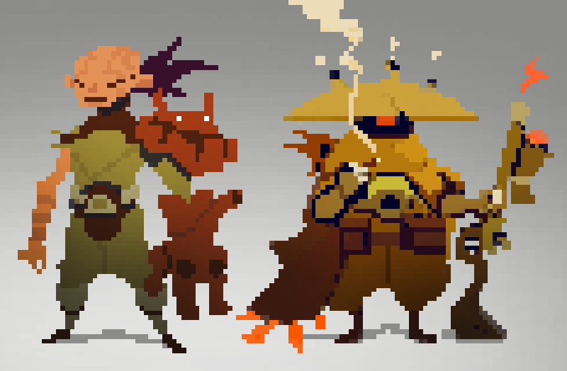 Drawn pixel art simple Photoshop pixel and use characters