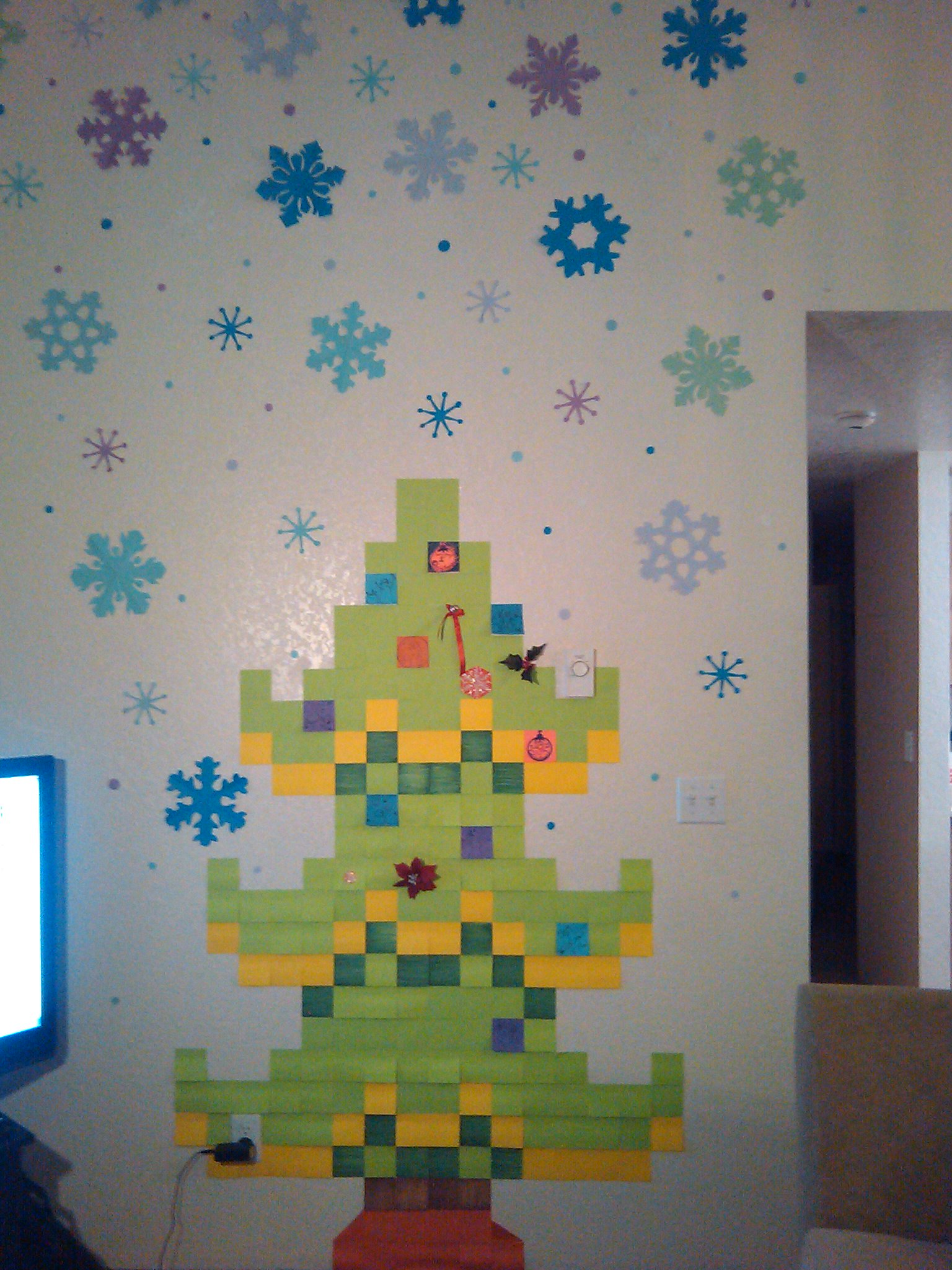 Drawn pixel art sticky note Snowflake Tree  drawn and