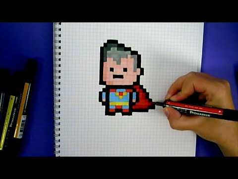 Drawn pixel art super man YouTube CUTE ART draw CHIBI