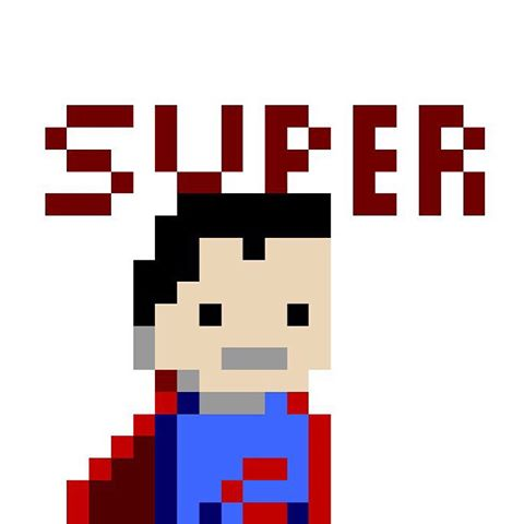 Drawn pixel art super man And by PixelChat: Keyboard photos