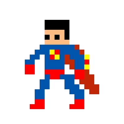 Drawn pixel art super man Piq art arcade Superman NES