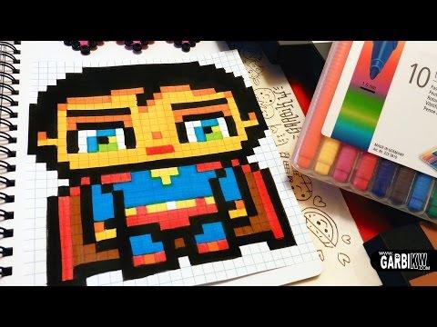 Drawn pixel art super man Garbi Art Kw Superman Handmade