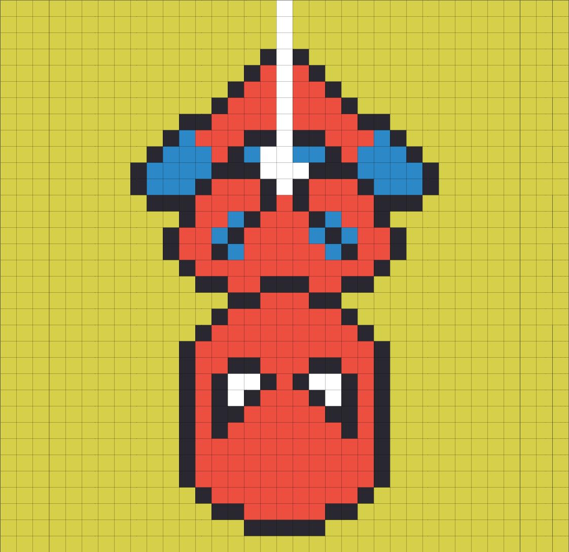 Drawn pixel art super man Got up  bored I