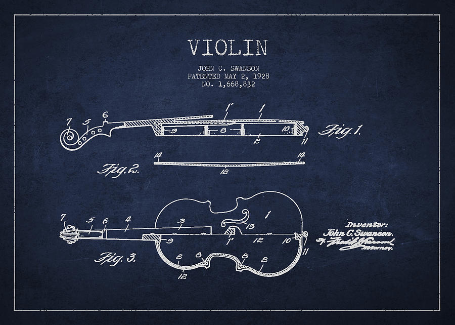 Drawn pixel art violin 1928 Violin Digital Vintage Art