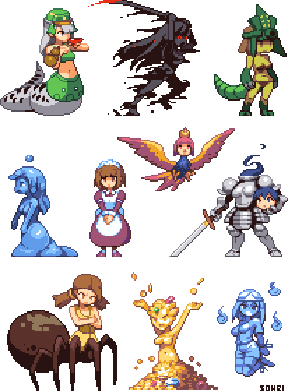 Drawn pixel art woman Sprites Monster by 2 @DeviantArt