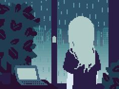 Drawn pixel art woman #12