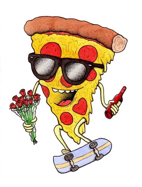 Drawn skateboard guy Pizza con con skate Pinterest