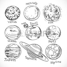 Drawn planets cute Doodle system > For ❤
