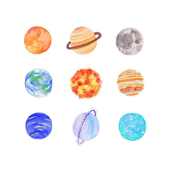 Drawn planets cute cartoon Planets > Polyvore ideas fillers
