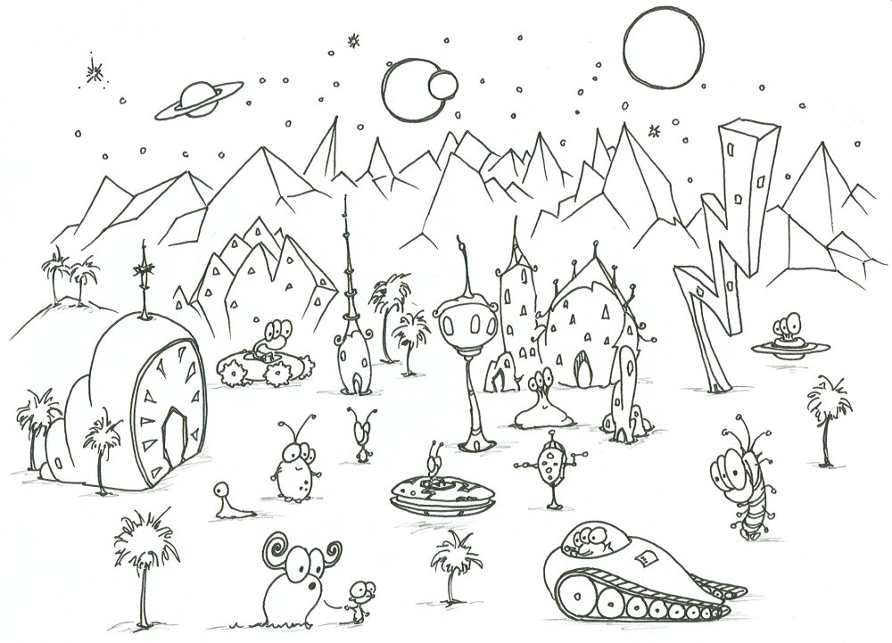 Drawn planet Some on alien an bluebison