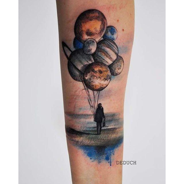 Drawn planet arm Camiladeduch tattoo Balloon on Pinterest