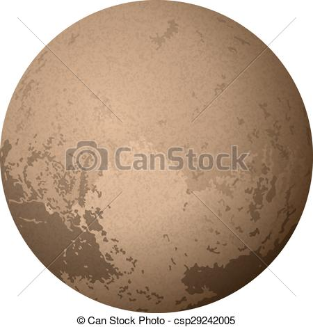 Drawn planet pluto planet Vector Planet on Isolated on