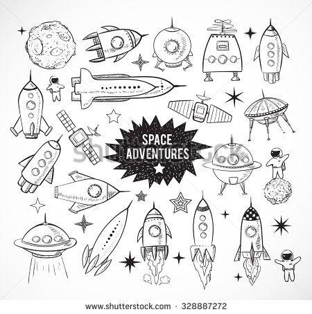 Drawn planet rocket ship Objects of Rocket tattoo on