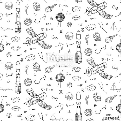 Drawn universe Pattern Vector and set Cosmos