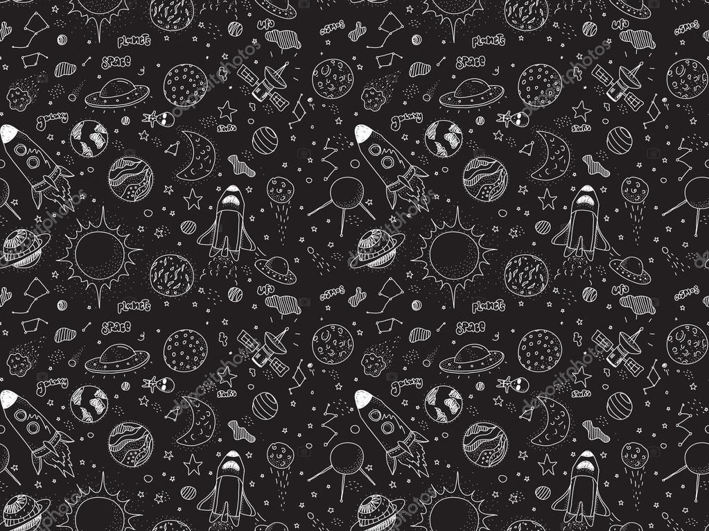 Drawn space black and white Pattern Space Hand satellite Rockets