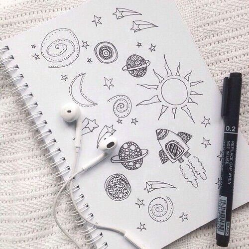 Drawn planets black paper #cute It  #creative tému