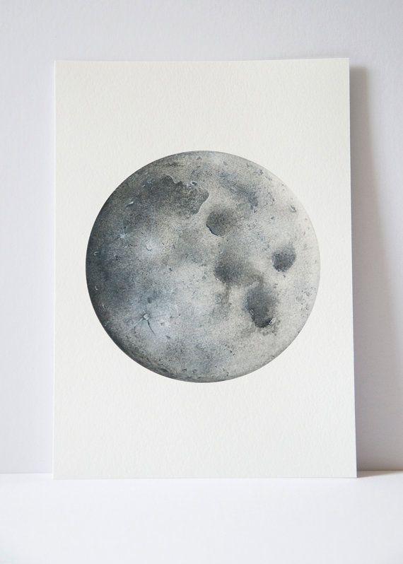 Drawn planets black paper Lunar art 25+ Art painting