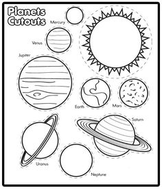 Drawn planets black paper Solar (lots them) paper Coloring