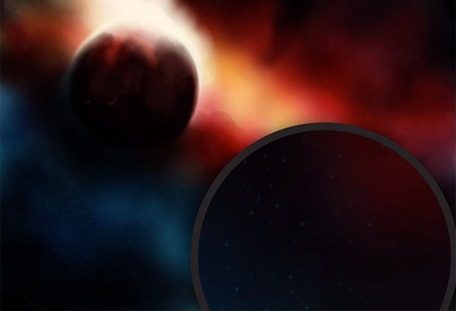 Drawn planets black paper Pencil stars with Space of