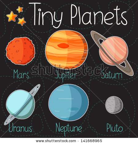 Drawn planets cartoon Collection planet form Pluto Mars