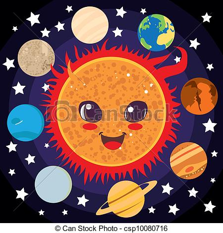 Drawn planets clipart Csp10080716 Sun planet happy Sun