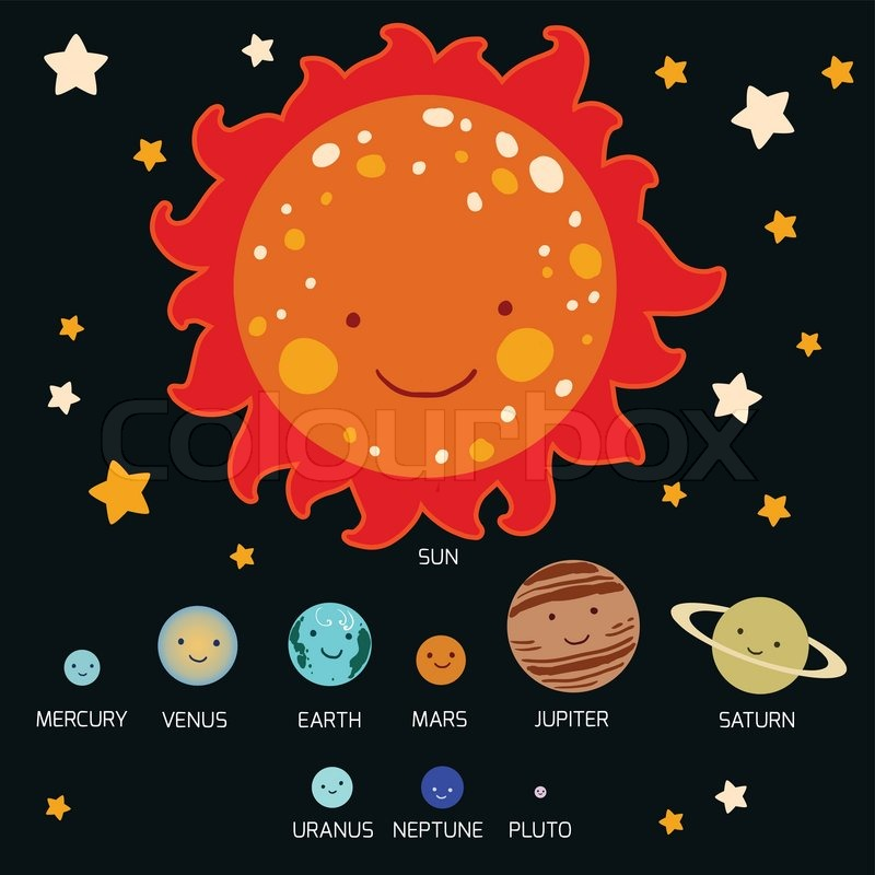 Drawn planets cute cartoon Solar drawing style solar Kid's