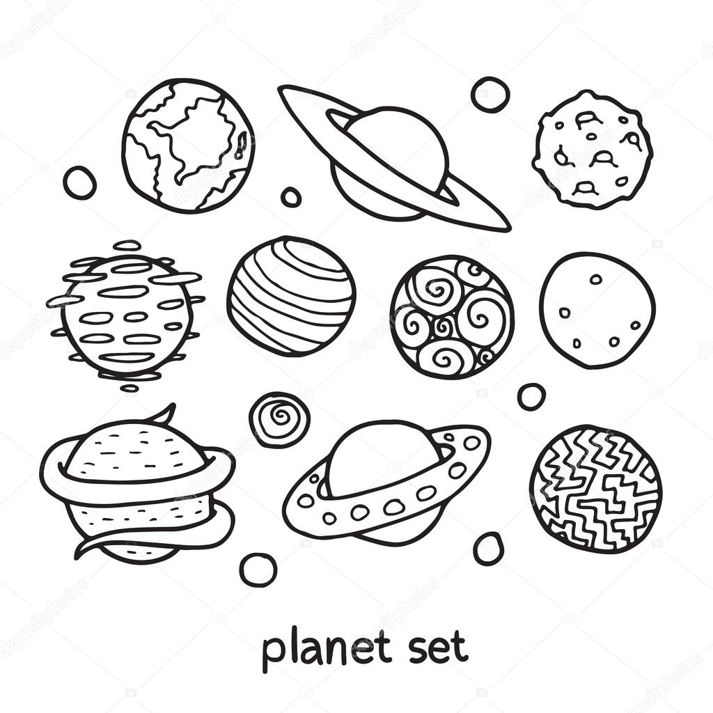 Drawn planets cute cartoon Stock fictional of vector Apolinarias