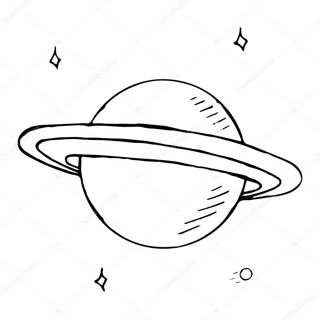 Drawn planets doodle Stars — Stock hand with