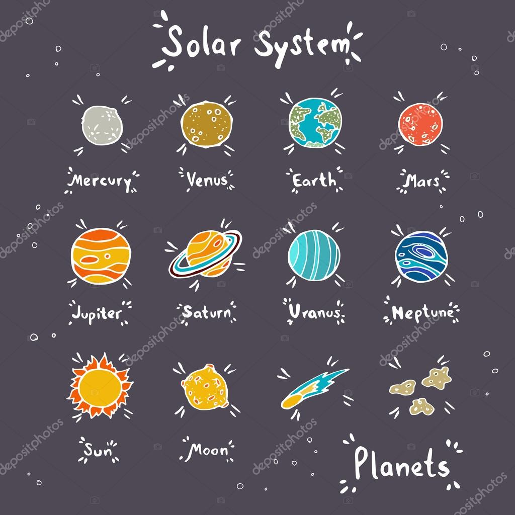 Drawn planets doodle Stock #78031446 © — —
