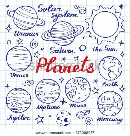 Drawn planet mars Cartoon of drawn set planets