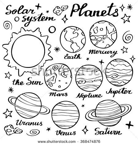 Drawn planets doodle On planets of ideas drawing