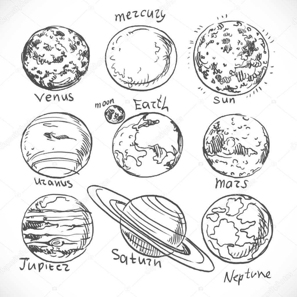 Drawn planets doodle Solar background isolated isolated the