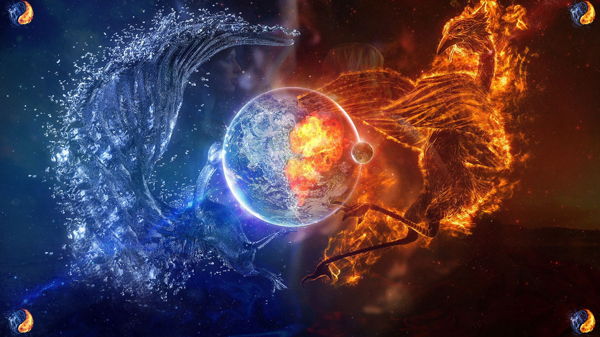 Drawn planets fire and ice On Wallpapers Pinterest And rider