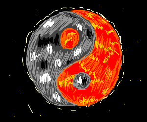 Drawn planets fire and ice Yang (drawing planet Yang &