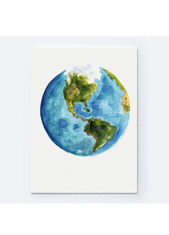 Drawn planets global Watercolor Planet Print Best Abstract