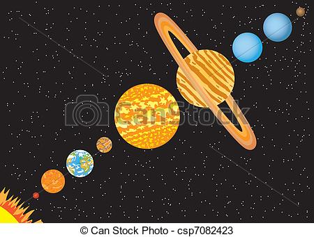 Drawn planets illustration Line in of csp7082423 Planets