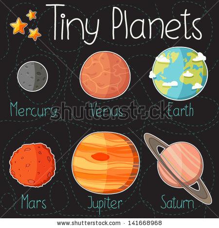 Drawn planets mercury Elements of planet planet icons