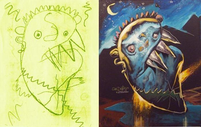 Drawn planets monster Children's The  engine6 monster