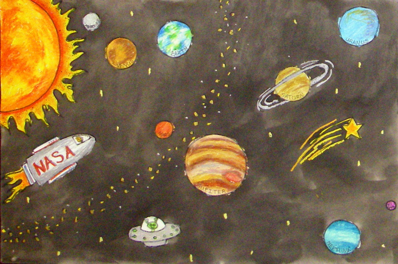 Drawn planets outer space Drawing Projects Space Outer Grade