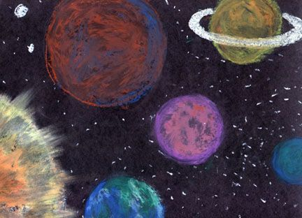 Drawn planets outer space Grade art space on a