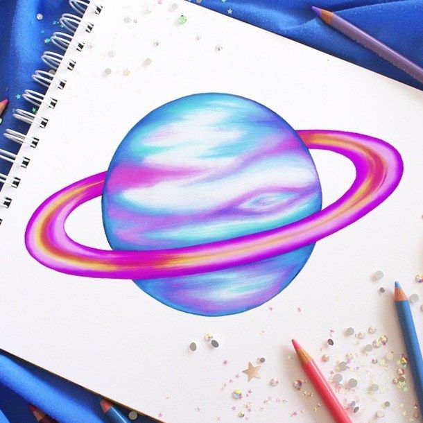 Drawn planets hand drawn Colourful on colour Planet art