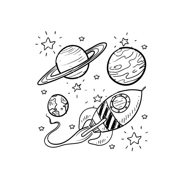 Drawn planets pencil drawing On stars stars liked planets