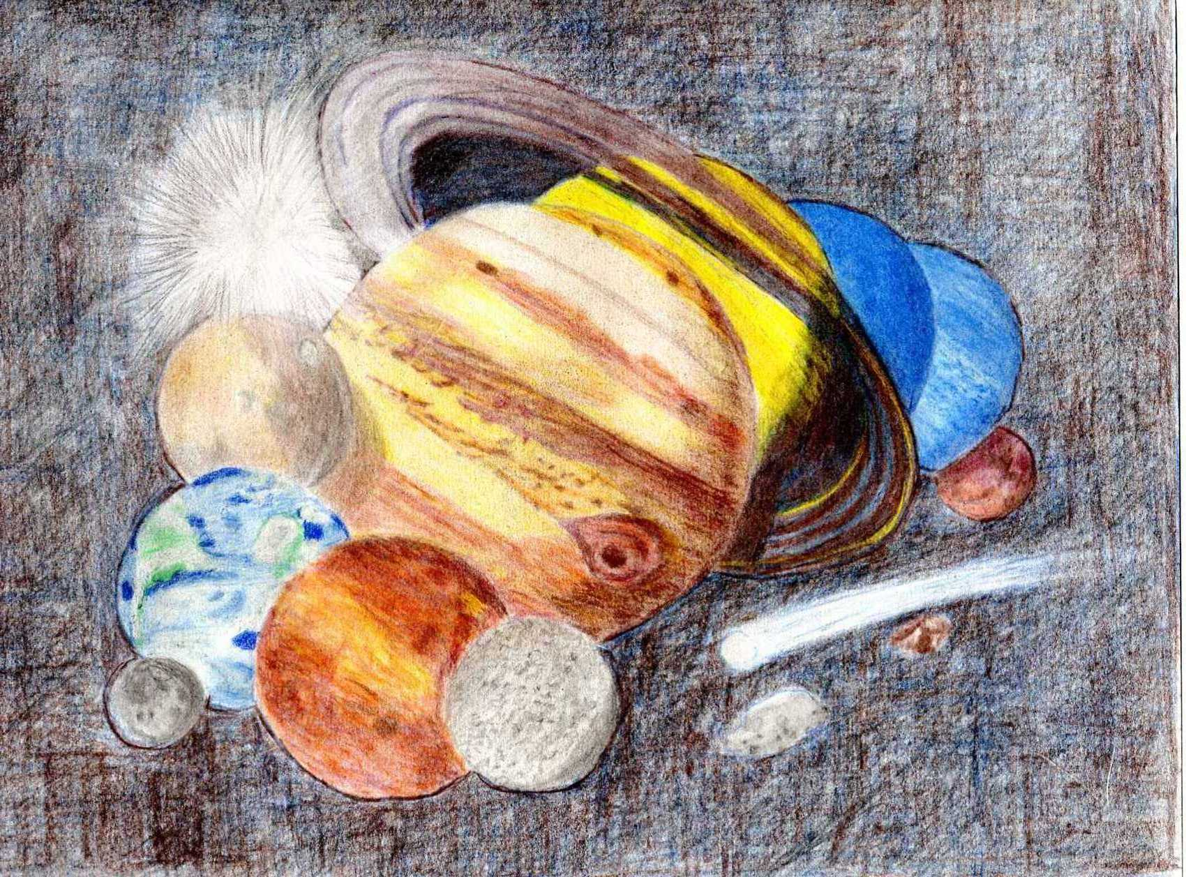 Drawn planets pencil drawing Colored  system Magazine in